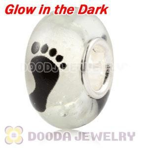 Wholesale Cheap Glow in the Dark Footprint Glass Bead for Bracelet