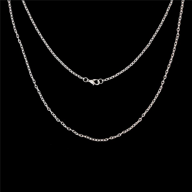 Iron Based Alloy Link Cable Chain Necklace Oval Silver Plated Cheap Necklace Chains