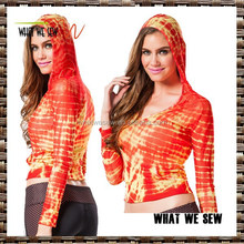 sublimation printed womens gym running sports hoodie dri fit sports hoodie wholesale