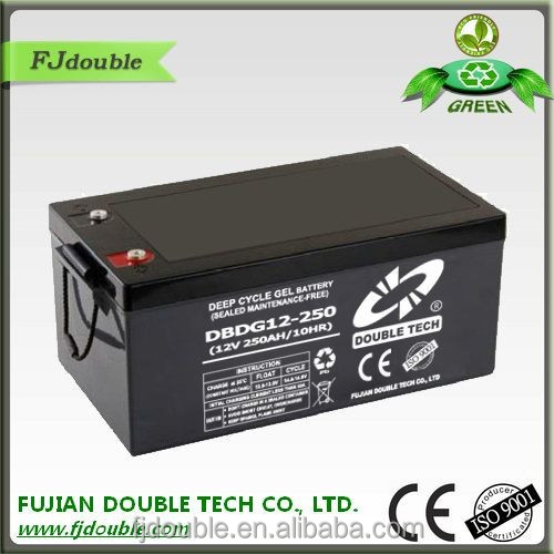 Super long life span solar battery 12v 250ah deep cycle battery with factory price