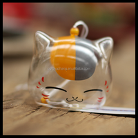 customized hand writing glass bell wind chime cat cartoon pattern