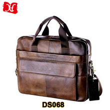 Mens Top Grain Cow Leather Business Handbag Briefcase Shoulder Bag