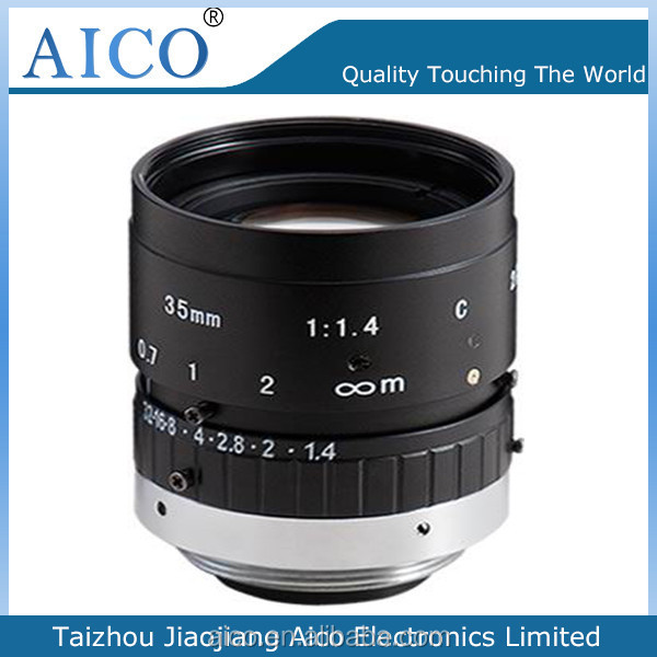 2/3 inch manual type c mount low distortion fixed focus 35mm F1.4 lens
