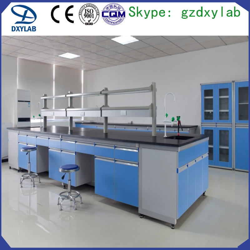 Full steel chemical laboratory bench with cabinet