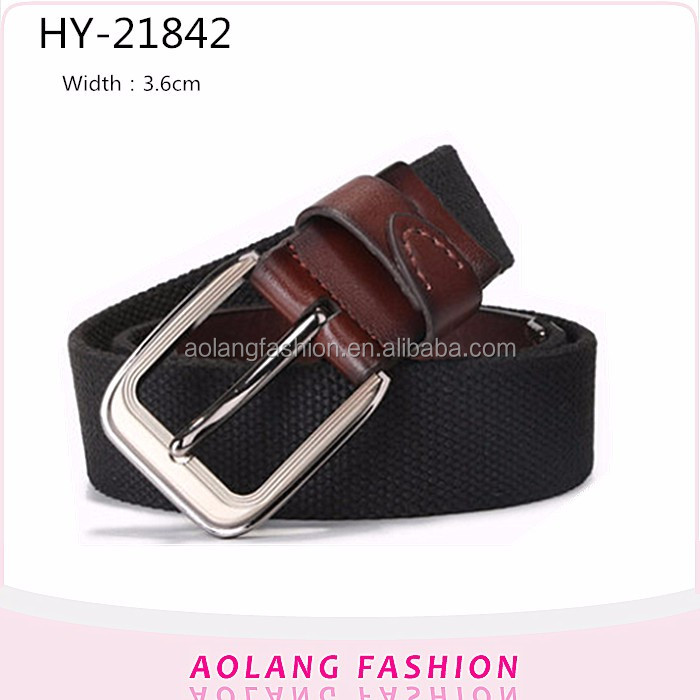 High Quality Yiwu Customized Mens black Cotton Webbing Belt for jeans Pants