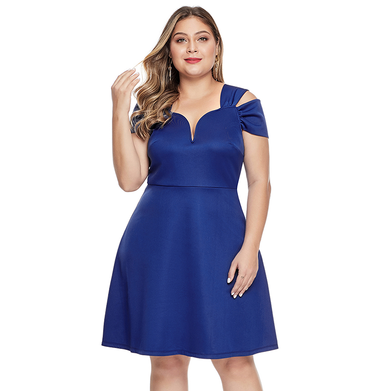 2019 Summer Fashion Fat Women Off Shoulder Plus Size Flare Dress