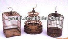 Outdoor handle wooden bird cage, handmade antique bird cage