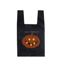 Hot sale halloween pumpkin bag small felt cheap shopping bag