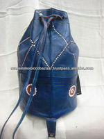 Blue Color Moroccan Handmade Leather Rucksack