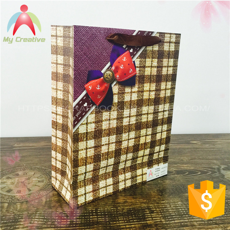 Recycling Material Oem Kraft ribbon tie gift bags