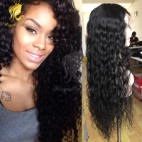 Alibaba Brazilian virgin human hair deep wave 100% human hair front lace wig for black woman
