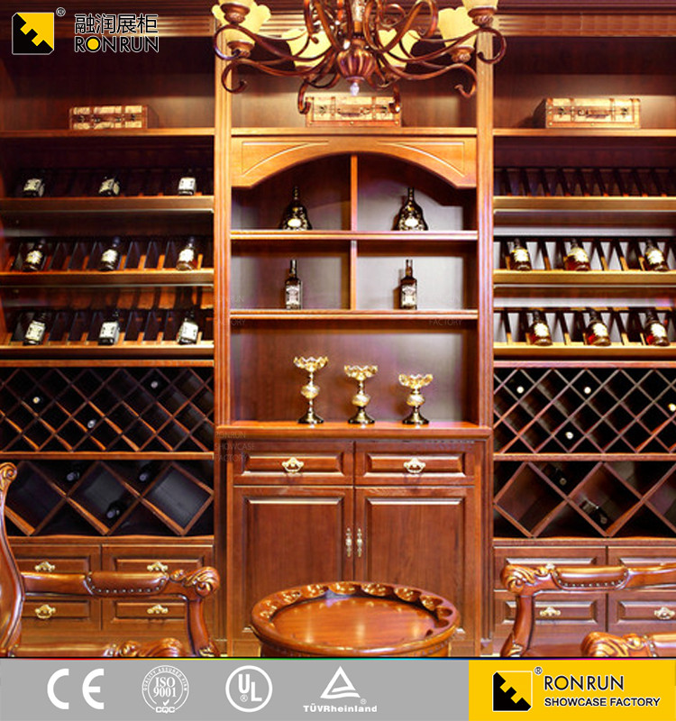 RWB5001 luxury solid wooden oak wine display rack cabinet furniture design
