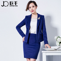 Royal Blue Suit Coat Picture Woman Blazers Woolen Skirt Suits for Lady