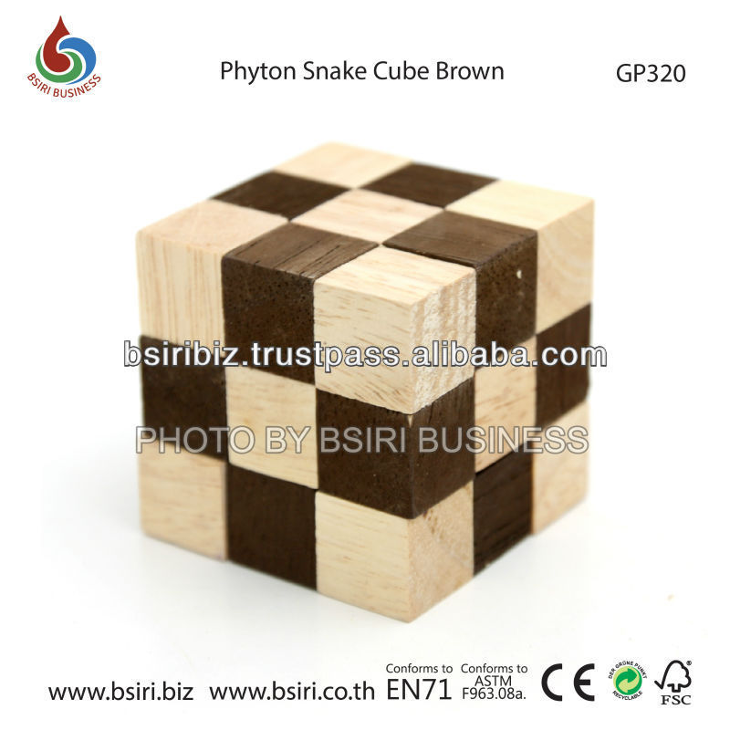 wooden puzzle Phyton Snake Cube Brown