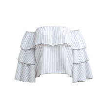 New Fashion Women Striped Blouse Off Shoulder Ruffled Long Sleeve Summer Loose Tops T-Shirt White