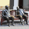 wall street decoration figure sculpture bronze sitting and chatting man statue