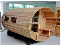 KEYA Red Cedar Outdoor Sauna Room Barrel Sauna For 6 Person with Porch and Windows