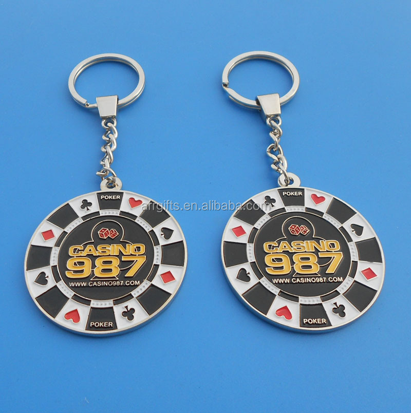 Cheap Poker Chip Metal Key Chain For Gambling House Promotion, Little Trinket Keychain