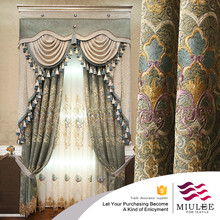 luxury european style window curtain with geometric design chenille fabric for living room