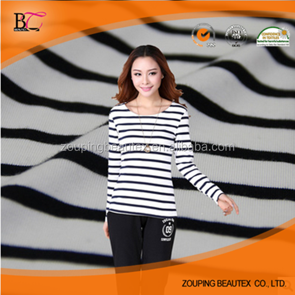 Manufacturers, wholesale cotton t-shirt black and white striped fabric