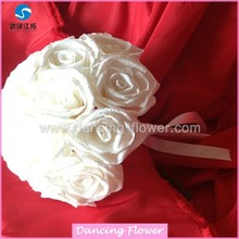 Crepe Paper White Rose Flower Ball Wedding Bouquets (BFCH-02 )