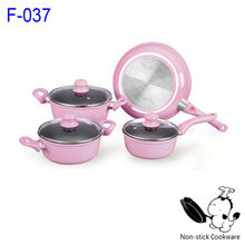 2017 hot selling pink forged 10pcs teflon nonstick induction royalty line cookware