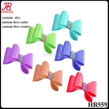 fashion kids pvc and rhinestone satin hair bow with elastic loop or hair clips
