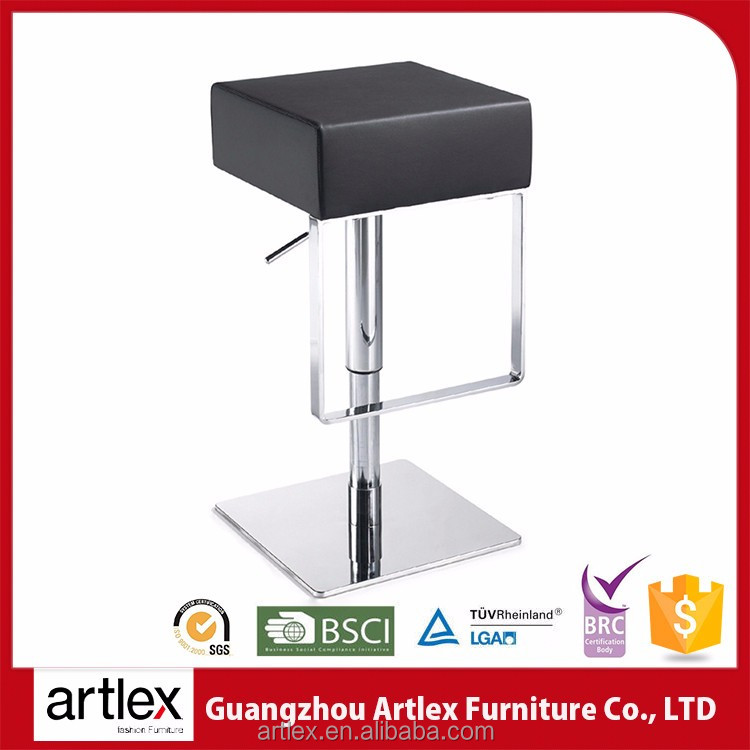 Commercial Black Cow Leather Hydraulic Lift Bar Stools And High Chairs