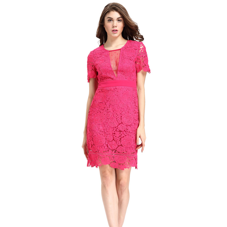 Women Party Short Sleeve Bodycon Sexy See Through Mesh Lace Dress Rose