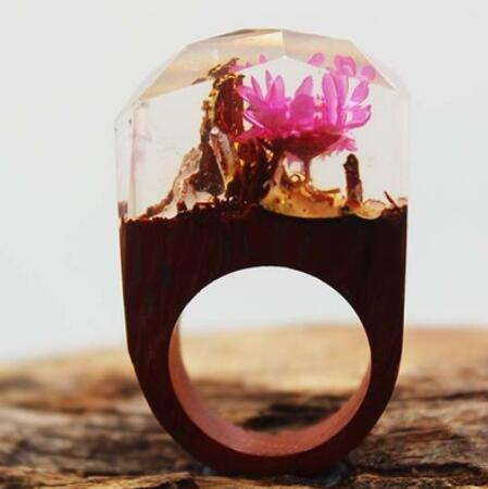 new products Wood Rings Fantastic Ring for Women Men Miniature Landscapes Worlds Inside