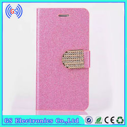 Flip Shiny Bling Diamond Deluxe Wallet Leather Case for iphone 6 Cell Phone Cover