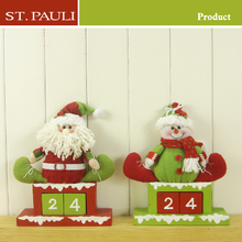 set of 2 stuffed plush felt snowman christmas advent calendar with wooden drawers