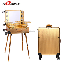 Sunrise 2016 Professional aluminum Makeup Case with wheels legs