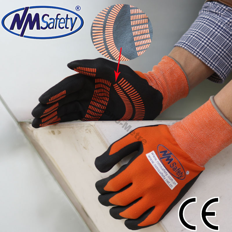 NMSAFETY nitrile dipped orange dot hand gloves