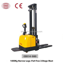 1.4T electric hydraulic stacker with full free 2-stage mast