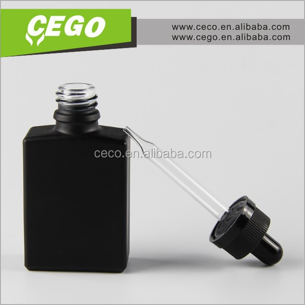 Hot now !!30ml 50ml e liquid glass bottle rectangular glass bottle black pipette dropper food grade 1oz glass bottle