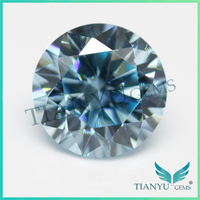 Hot Sale Round Brilliant Faceted Free Sample Gemstone American Cubic Zirconia Light Blue Sapphire