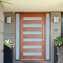 Meranti solid wood glass insert pivot entry door with side lites