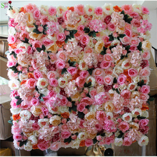 SPR hot mix color artificial hydrangea rose wedding flower wall panel decorative silk flowers for party event stage backdrop
