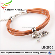 Simple Punk Style Three Layers Man Bracelets Fashion Handmade Brown Leather Jewelry Charm Accessories