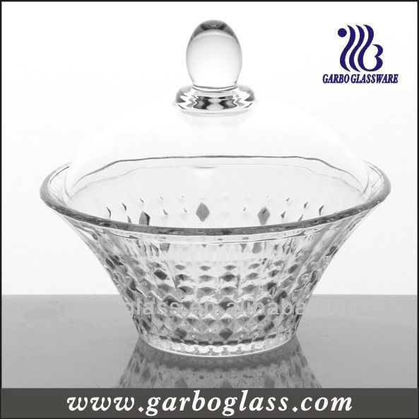 Diamond design glass sugar bowl with lid /Glass Storage Jar/Glassware
