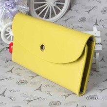 Envelope Clutch Wallet Candy Color Women Trifold Clutch Purse Slim Leather Long Purse with Coin Pocket
