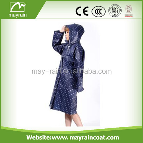 Ladies Hooded Waterproof PVC/Polyester Long Blue Raincoat