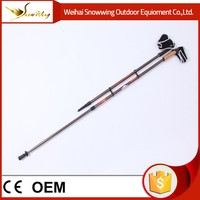 aluminum 6061 glass fiber 1 section custom telescopic foldable cane nordic walking stick rubber tips for old people