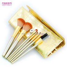 7pcs nylon hair personalized makeup brush set with golden handle crocodile pu bag