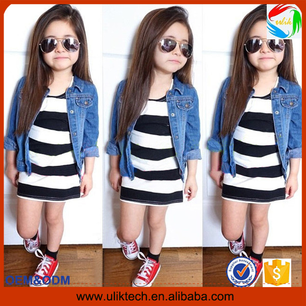 Hot sales denim and stripe baby clothes fashion kid clothes set wholesale free shipping little child clothes (Ulik-A011)