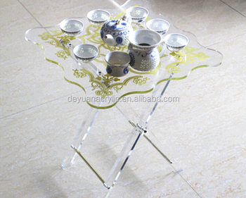 Glass Tea Table Design Folding Acrylic Tea Table