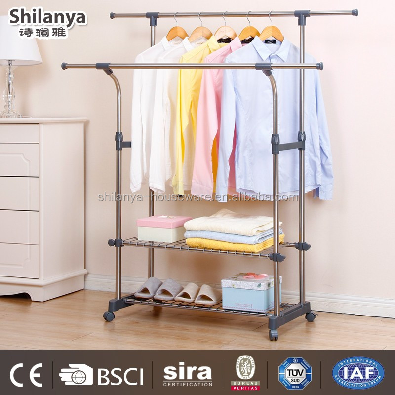 double-pole baby clothes display rack for kids