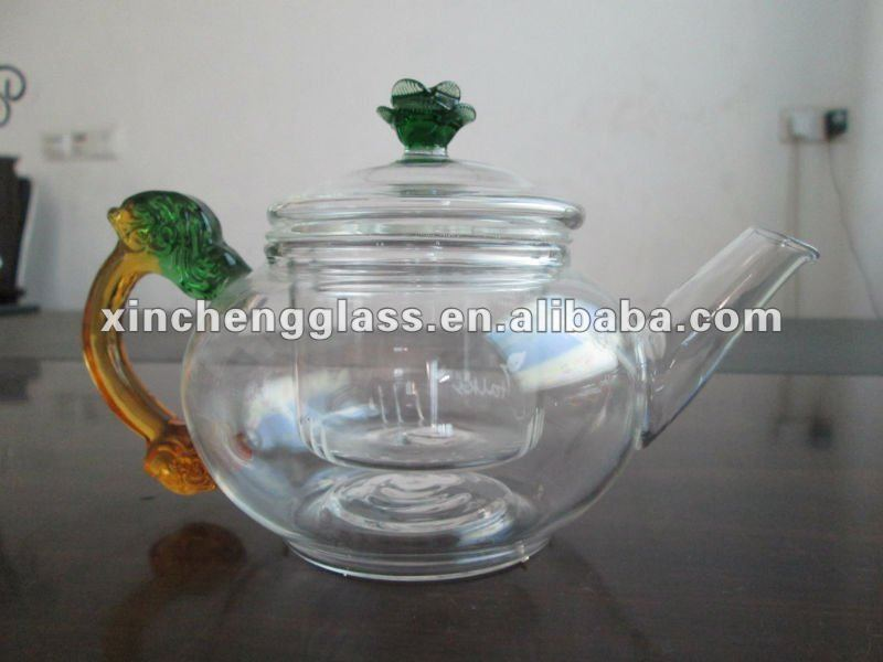 New Style heat-resistant borosilicate glass tea pot with pink dragons glass handle & flower lid