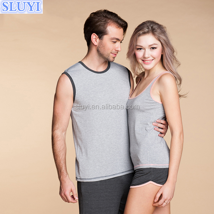 100 cotton blank couple t-shirt and short pants sets sleeveless vest pajamas two piece suit couple pajamas wholesale